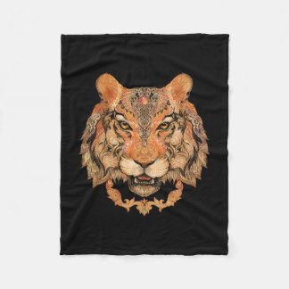 Indian Tiger Tattoo Small Fleece Blanket