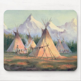 INDIAN TIPI CAMP by SHARON SHARPE Mouse Pad