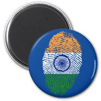 Indian touch fingerprint flag 6 cm round magnet