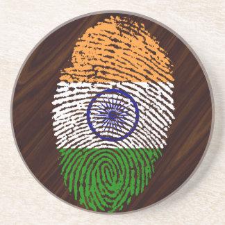 Indian touch fingerprint flag coaster