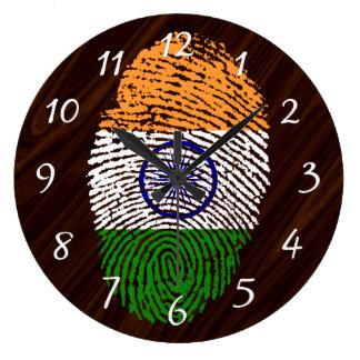 Indian touch fingerprint flag large clock