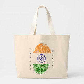 Indian touch fingerprint flag large tote bag