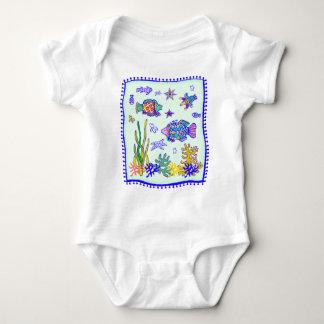 Indian Tropical Fish Quilt Baby Bodysuit