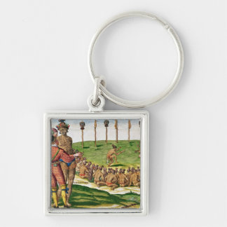 Indian Victory Ceremony, from 'Brevis Silver-Colored Square Key Ring