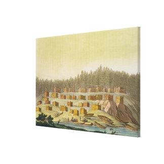 Indian Village, New Georgia, Alaska (colour engrav Canvas Print
