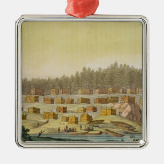 Indian Village, New Georgia, Alaska (colour engrav Christmas Ornament