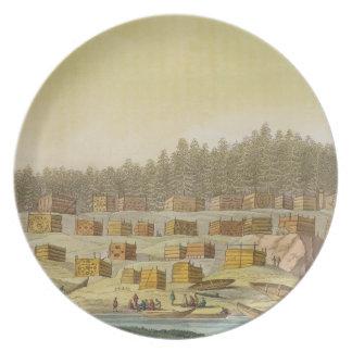 Indian Village, New Georgia, Alaska (colour engrav Plate