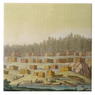 Indian Village, New Georgia, Alaska (colour engrav Tile