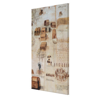 Indian Village of Secoton Canvas Print