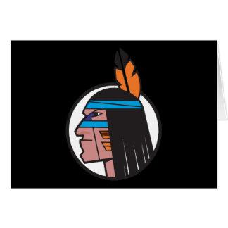 Indian Warrior Head Greeting Card