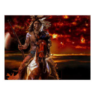 Indian Warrior Riding through the fire Posters