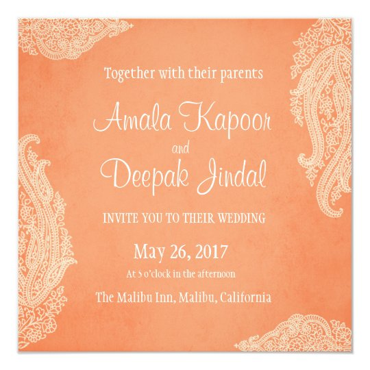 Indian Wedding Invitation Gold Hindu Wedding Invitation Zazzle