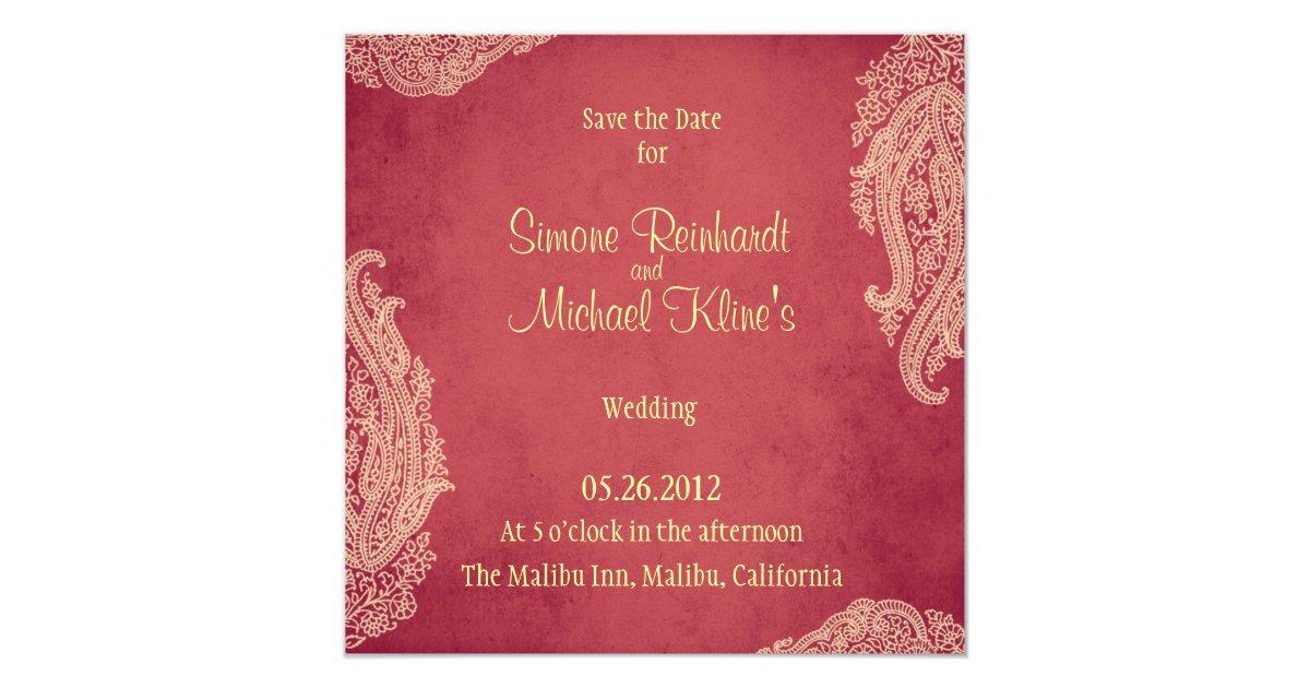 Mehndi Ceremony Cards : Indian wedding invitation mehndi red gold card zazzle.co.uk
