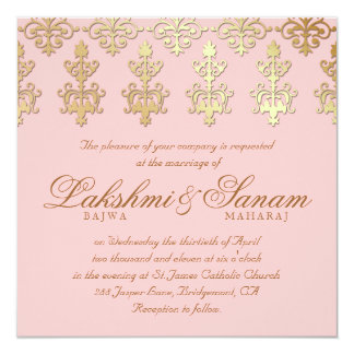 Indian Wedding Invite Damask Gold Baby Pink