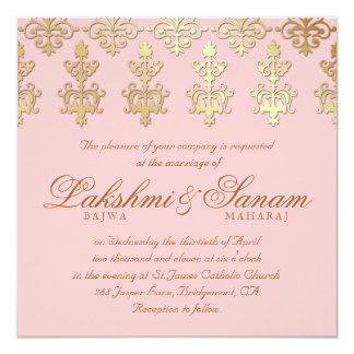 Indian Wedding Invite Damask Gold Baby Pink