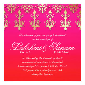 Indian Wedding Invite Damask Gold Pink Red White