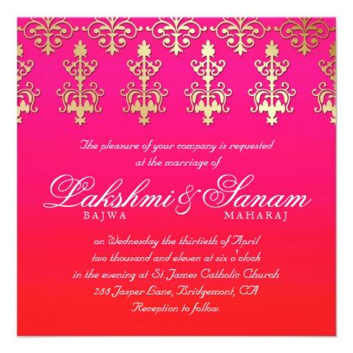 Indian Wedding Invite Damask Gold Pink Red White