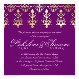 Indian Wedding Invite Damask Gold Purple