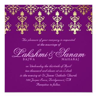"""Indian Wedding Invite Damask Gold Purple 5.25"""" Square Invitation Card"""