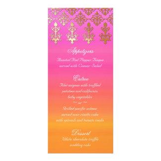 Indian Wedding Menu Cards Pink Orange Gold Damask Full Color Rack Card
