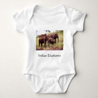 Indian wild elephants baby bodysuit