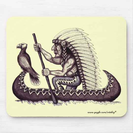 Indian with eagle graphic art cool mousepad design