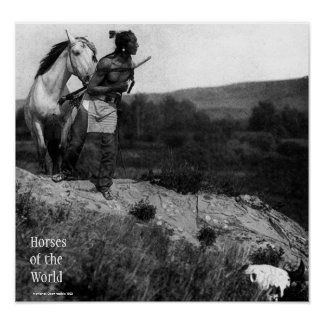 Indian with horse poster