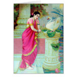 Indian Woman in Sari in Temple with Swan Card