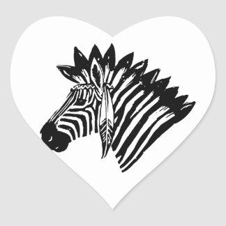 Indian zebra heart sticker
