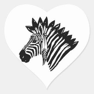 Indian zebra heart stickers