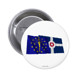 Indiana and Indianapolis Flags 6 Cm Round Badge