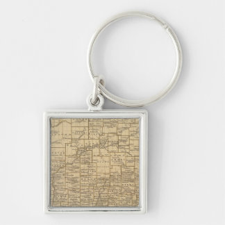 Indiana Atlas Map Silver-Colored Square Key Ring