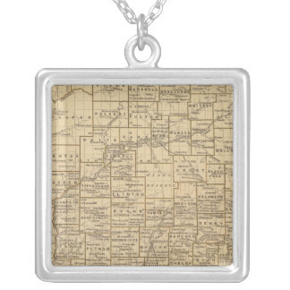 Indiana Atlas Map Silver Plated Necklace