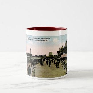Indiana Ave Boardwalk, Atlantic City Vintage Two-Tone Mug