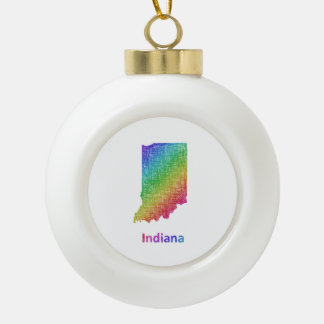 Indiana Ceramic Ball Christmas Ornament