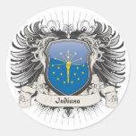 Indiana Crest Round Sticker