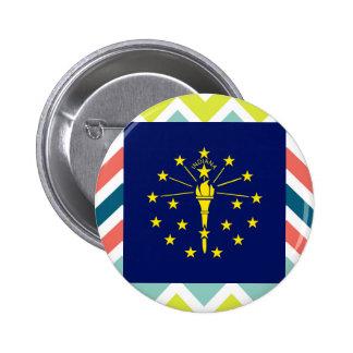 Indiana Flag Box on Colorful Chevron 6 Cm Round Badge