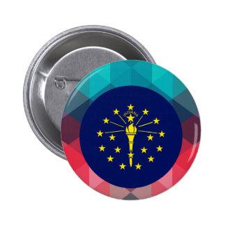 Indiana flag circle on modern bokeh 6 cm round badge