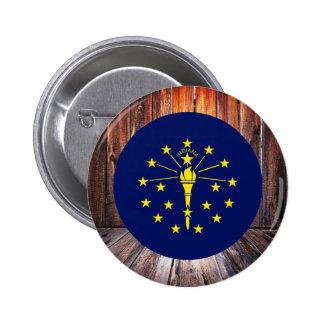 Indiana flag circle on wood background 6 cm round badge