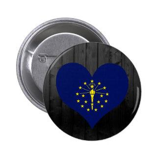Indiana flag colored 6 cm round badge