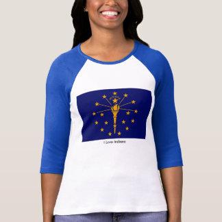 Indiana Flag for Women's-T-Shirt-White-Blue T-Shirt