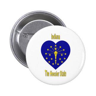 Indiana Flag Heart 6 Cm Round Badge