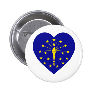 Indiana Flag Heart Pinback Button