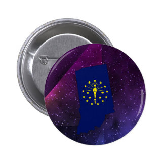 Indiana Flag Map on abstract space background 6 Cm Round Badge