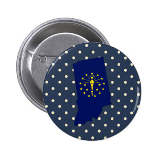 Indiana Flag Map on Polka Dots 6 Cm Round Badge