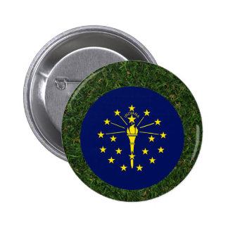 Indiana Flag on Grass 6 Cm Round Badge