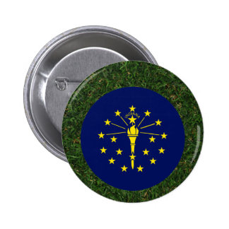 Indiana Flag on Grass 6 Cm Round Badge