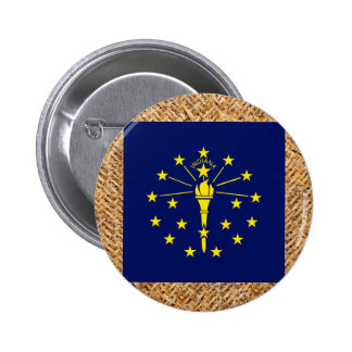 Indiana Flag on Textile themed 6 Cm Round Badge
