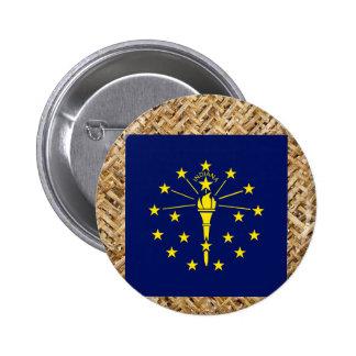 Indiana Flag on Textile themed 6 Cm Round Badge