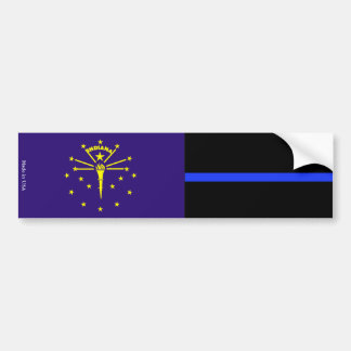 Indiana Flag Police Thin Blue Line Bumper Sticker